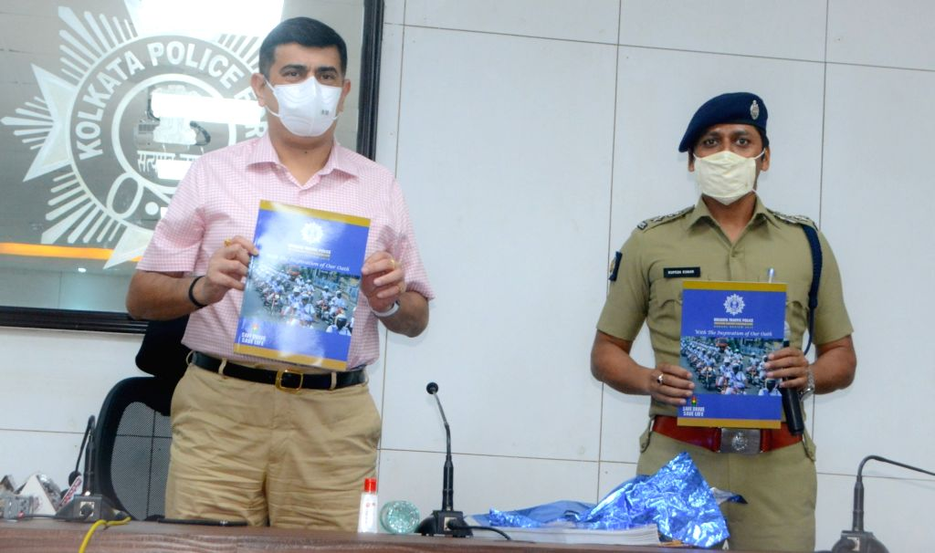 Kolkata Police Commissioner Anuj Sharma releases Durga Puja guide 2020 at a press conference at Lalbazar in Kolkata on Oct 19, 2020.