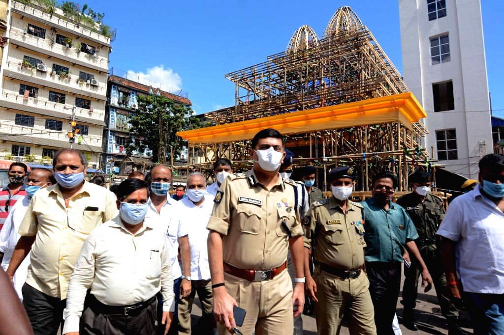Kolkata Police Commissioner Anuj Sharma with his team visited Muhammad Ali Park Durga Puja pandal to inspect preparations for precautions against COVID 19 ahead of Durga Puja celebrations ...
