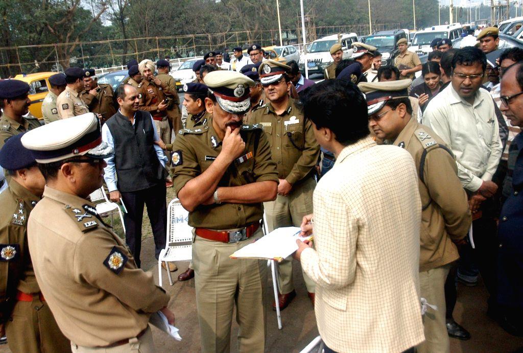 Kolkata Police Commissioner Surajit Kar Purkayastha inspects the Red Road parade ground in Kolkata, on Jan 21, 2016.