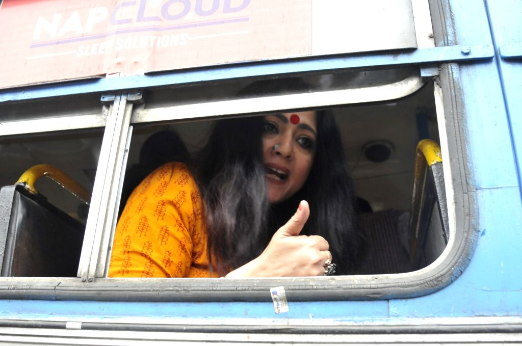 Kolkata: Police detained, Fashion Designer turn BJP leader Agnimitra Paul during BJP organised 'Abhinandan Jatra' in Kolkata on Feb 07, 2020.