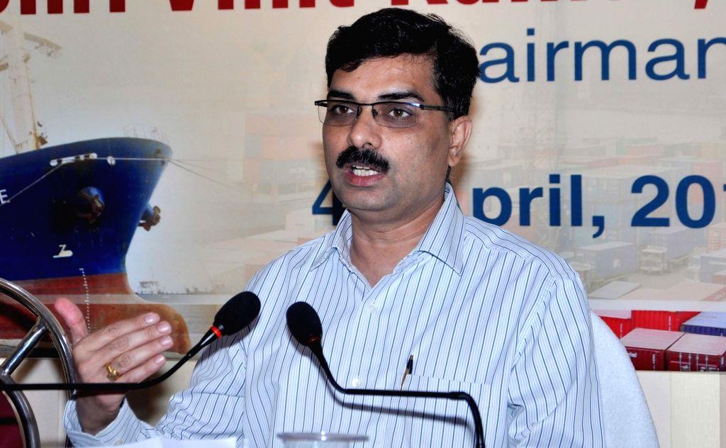 Kolkata Port Trust (KoPT) Chairman Vinit Kumar addresses a press conference in Kolkata, on April 4, 2018. - Vinit Kumar