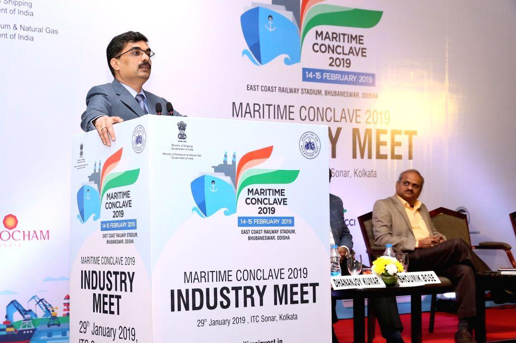 Kolkata Port Trust (KoPT) Chairman Vinit Kumar addresses at Maritime Conclave 2019 at East Coast Railway Stadium in Bhubaneswar, on Jan 29, 2019. - Vinit Kumar