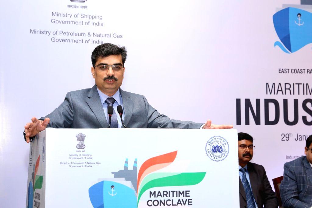 Kolkata Port Trust (KoPT) Chairman Vinit Kumar addresses at Maritime Conclave 2019 at East Coast Railway Stadium in Bhubaneswar, on Jan 29, 2019. (Photo: IANS) - Vinit Kumar
