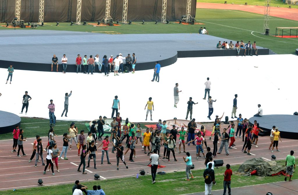 Preparations for IPL opening ceremony underway at Salt Lake Stadium in Kolkata, on April 4, 2015.