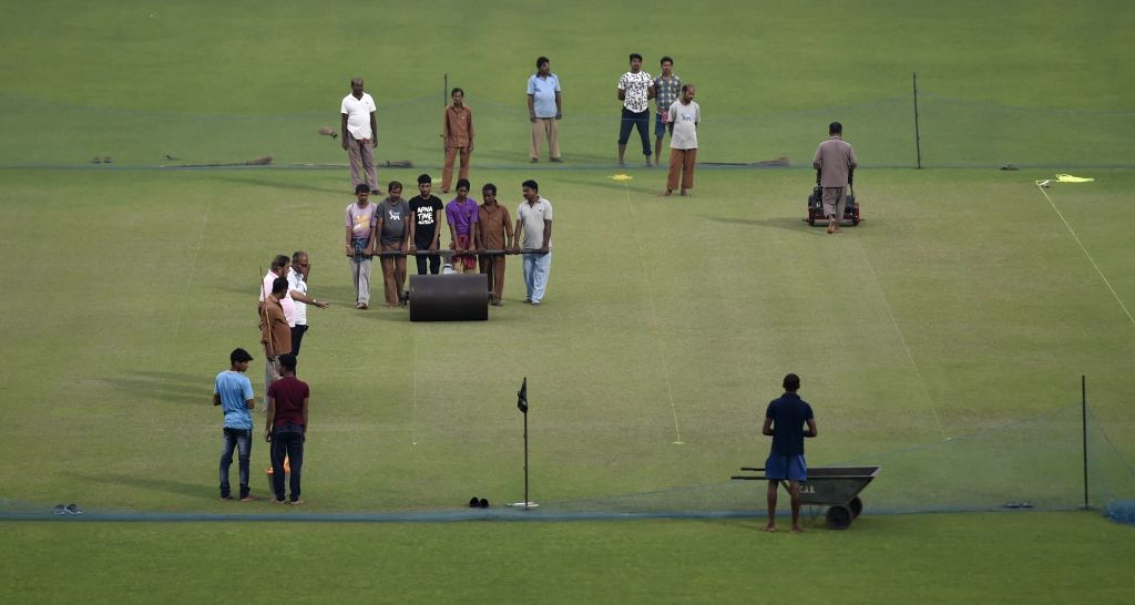 Kolkata: Preparations for the first day-night test match between India and Bangladesh underway at the Eden Gardens in Kolkata on Nov 16, 2019. (Photo: IANS)