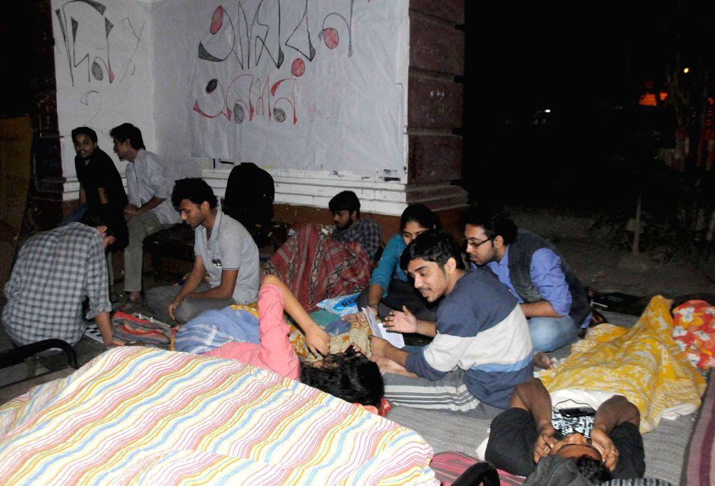 Presidency University students participate in an indefinite hunger strike regarding their attendance at university campus in Kolkata, on Nov 23, 2014.