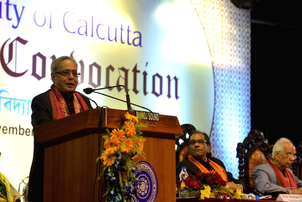 President Pranab Mukherjee addresses at the Annual Convocation of University of Calcutta in Kolkata on Nov 28, 2014. - Pranab Mukherjee