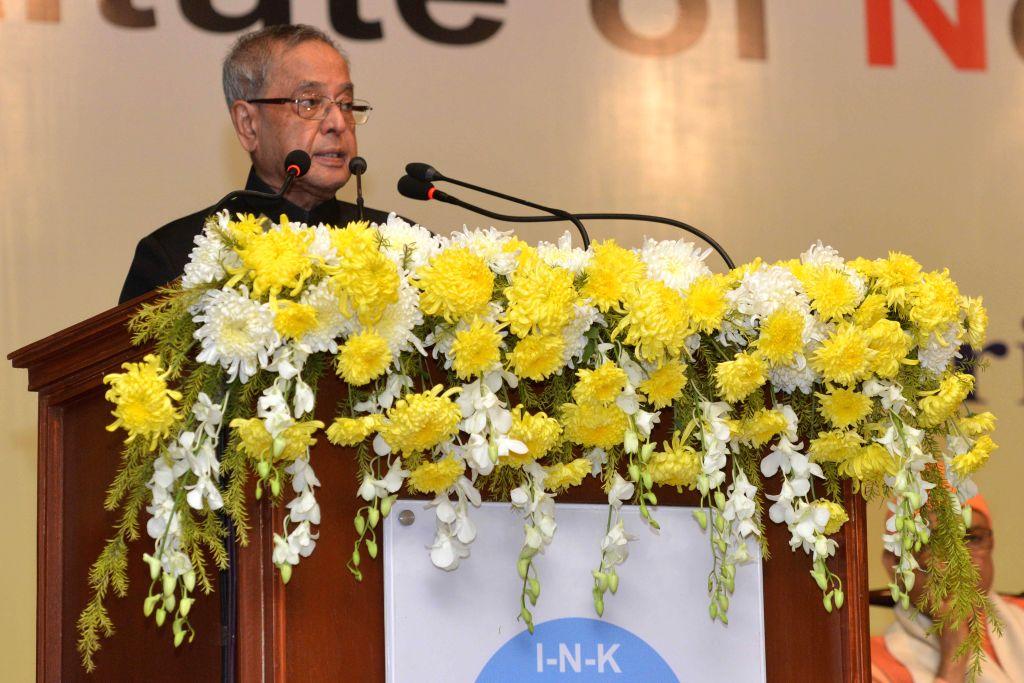 President Pranab Mukherjee addresses at the inauguration of the Institute of Neurosciences in Kolkata on Nov 28, 2014. - Pranab Mukherjee