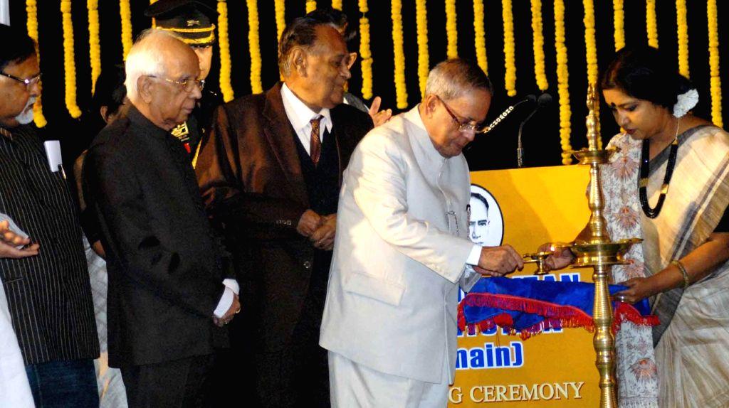 President Pranab Mukherjee along with Governor of West Bengal Keshari Nath Tripathi during 150th years celebration of Metropolitan Institution in Kolkata on Nov 29, 2014. - Pranab Mukherjee
