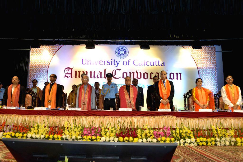 President Pranab Mukherjee at the Annual Convocation of University of Calcutta in Kolkata on Nov 28, 2014. Also seen West Bengal Governor Keshari Nath Tripathi. - Pranab Mukherjee and Keshari Nath Tripathi