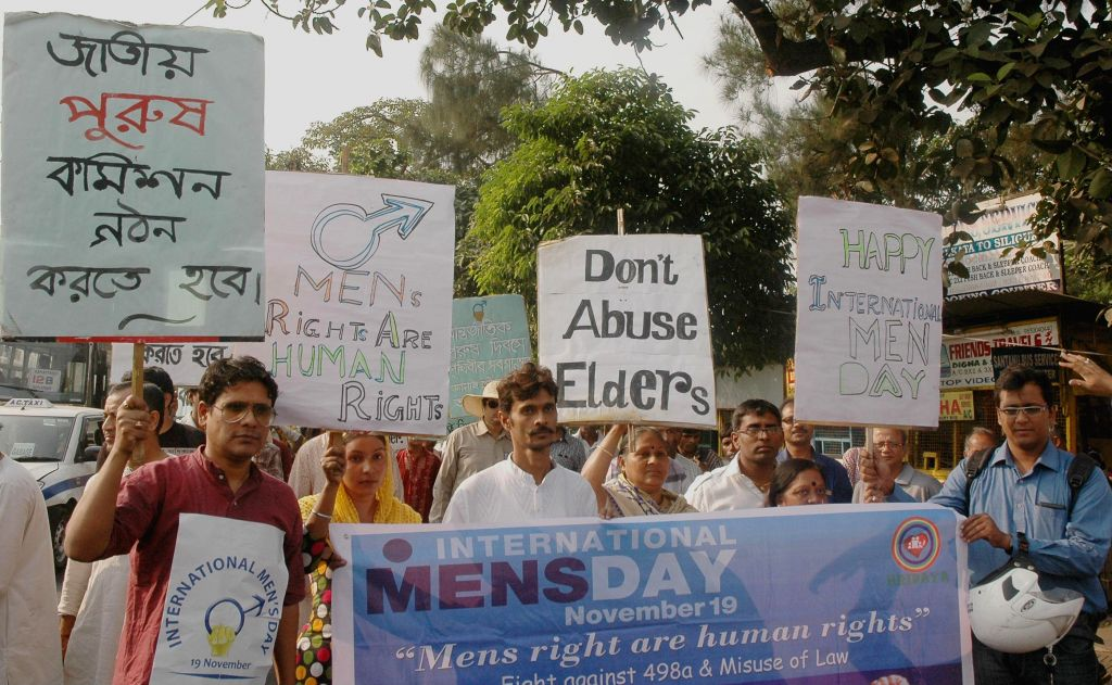 Protesters during a rally demanding justices on the eve of International Men`s Day in Kolkata on Nov. 15, 2014.