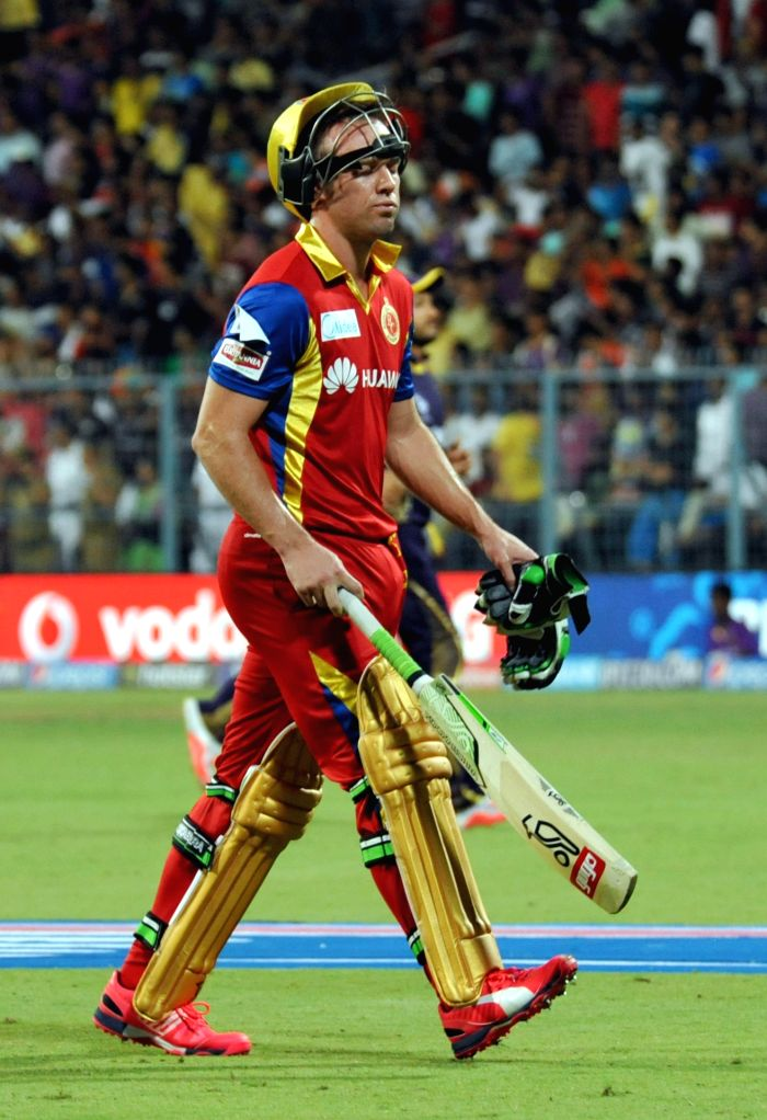 RCB batsman AB de Villiers going back to the pavilion after getting out during the IPL match between Kolkata Knight Riders (KKR) and Royal Challengers Bangalore (RCB) at Eden Gardens in ...