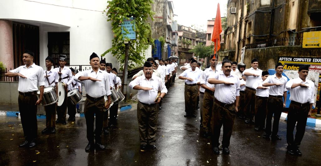 Kolkata: RSS volunteers participate in a route march in Kolkata, on 29 Sep, 2019. (Photo: Kuntal Chakrabarty/IANS)