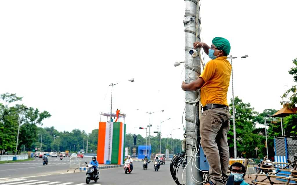 Kolkata's Red Road all decked up for Independence Day celebrations, on Aug 12, 2020.