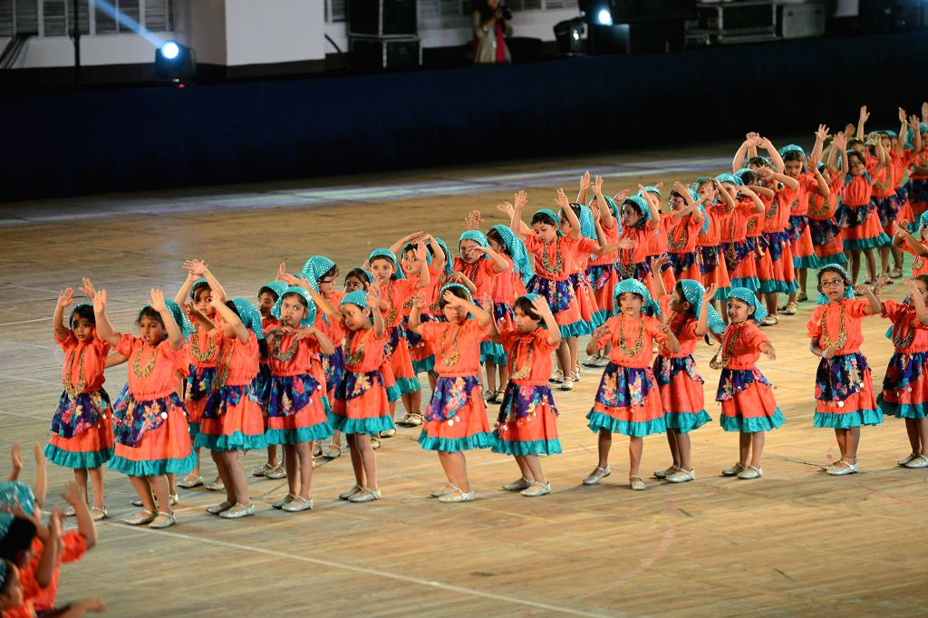 School students perform during inauguration of  a programme 'Spectrun 2015' in Kolkata on Jan 17, 2015.