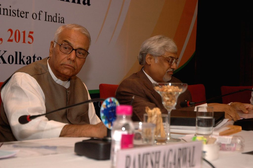Senior BJP leader and former finance minister Yashwant Sinha with MCCI chief Arun Saraf during a programme organised to discuss national budget 2015-16 in Kolkata, on March 3, 2015.