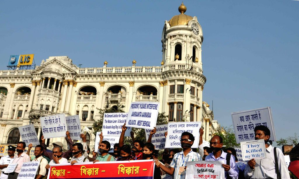 Social activists took out a protest rally against West Bengal Government and demanding peace and justice in Kolkata on March 22, 2015.