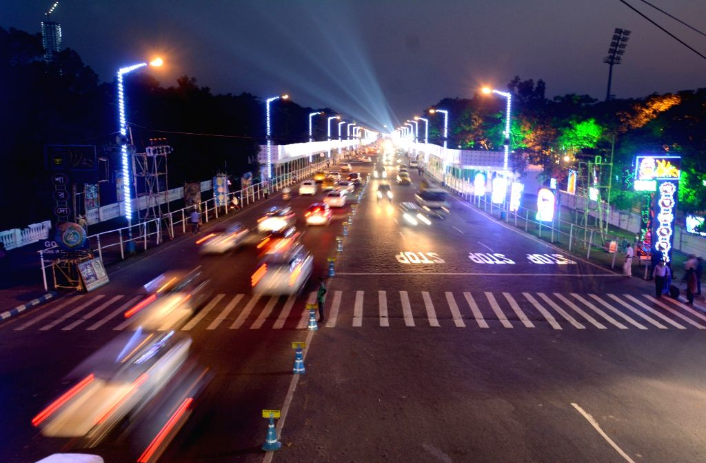 : Kolkata: Special light installations made at Red Road ahead of the Red Road Puja carnival, in Kolkata on Oct 22, 2018. .