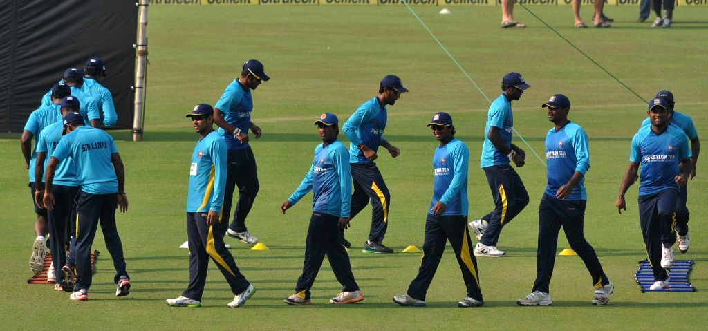 Sri Lankan players during a practice session ahead of the 4th ODI match between India and Sri Lanka, at the Eden Gardens in Kolkata, on Nov 12, 2014.