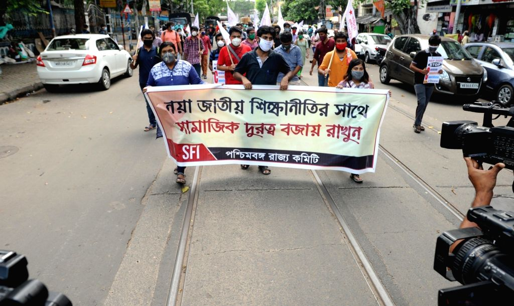 Kolkata : Students Federation of India (SFI) activists protest against the New Education Policy (NEP) 2020, in Kolkata on July 31, 2020.