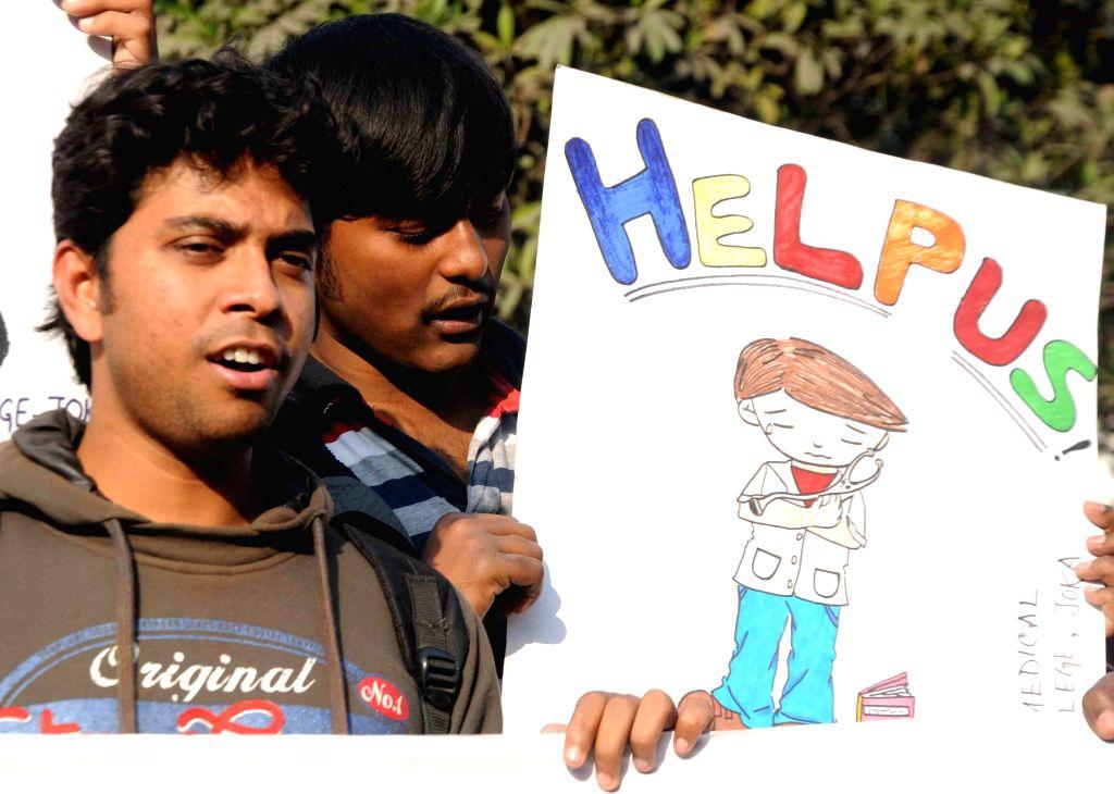 Students of Jadavpur University staging a demonstration in Kolkata on Jan 17, 2015.