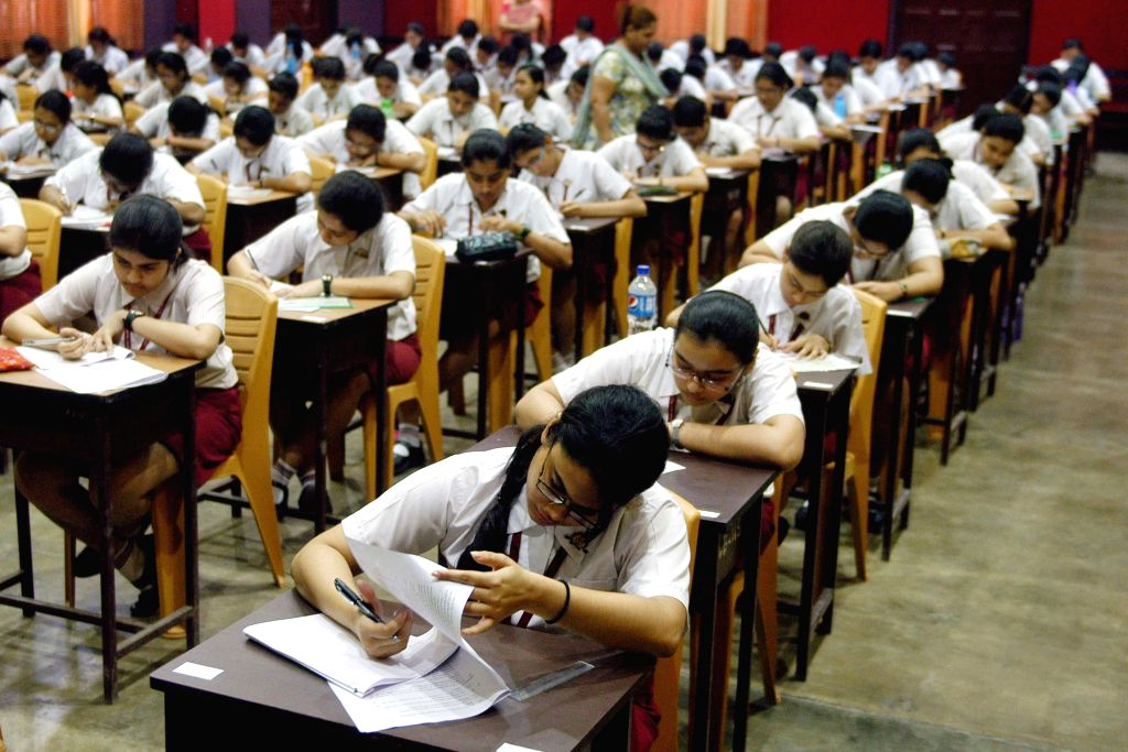 Students sitting in the examination hall on the first day of ICSE examination in Kolkata, on Feb 27, 2015.