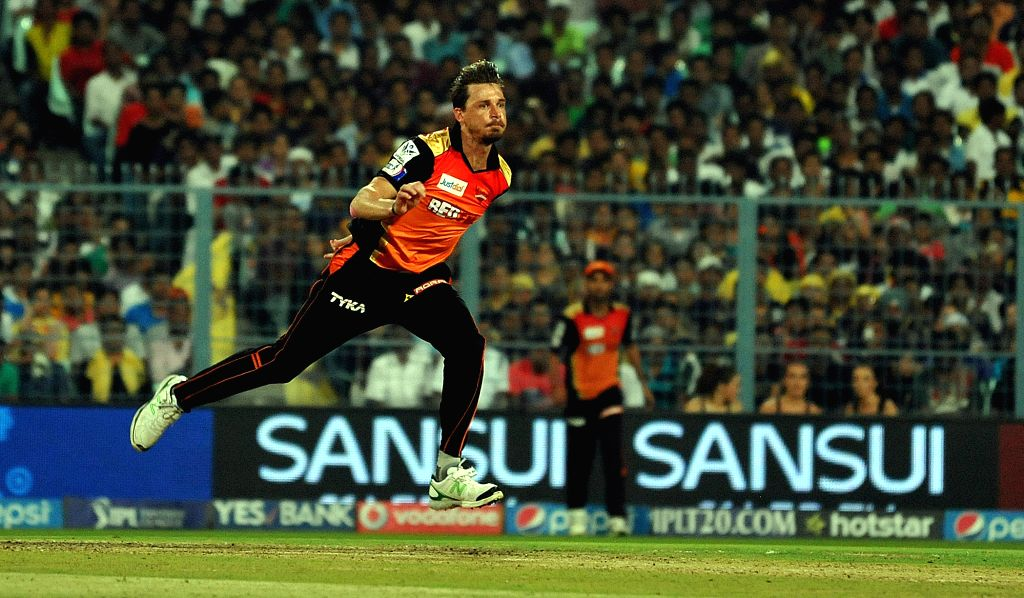 Sunrisers Hyderabad player Dale Steyn in action during an IPL 2015 match between Kolkata Knight Riders and Sunrisers Hyderabad at the Eden Gardens in Kolkata, on May 4, 2015.