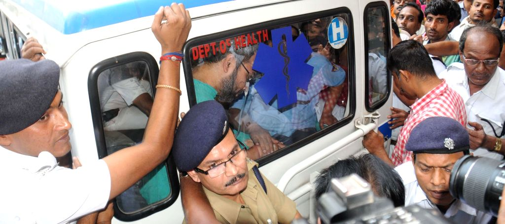Suspended Trinamool Congress MP Kunal Ghosh who is accused of multi-crore-rupee Sardha chit fund scam at SSKM hospital in Kolkata on Nov. 15, 2014.