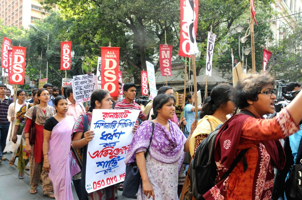 The activists of All India Democratic Students` Organisation (AIDSO) participate in a protest rally to condemn the recent gang rape of a nun in Ranaghat of West Bengal`s Nadia district, in ...