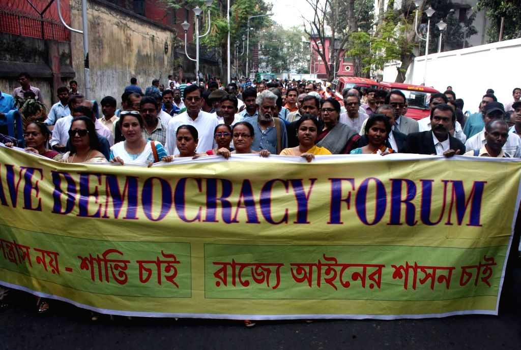 The activists of Save Democracy Forum (SDF) participate in a protest rally against West Bengal Government in Kolkata on Feb 18, 2015.