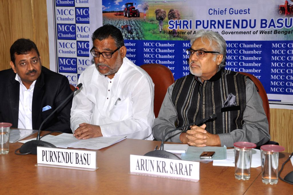 The chairman MCCI  Standing Committee on Agriculture Sanjay Rasiwasia, West Bengal Agriculture Minister Purnendu Basu and MCCI chief Arun Kumar Saraf during a seminar on Agriculture in ... - Purnendu Basu and Arun Kumar Saraf