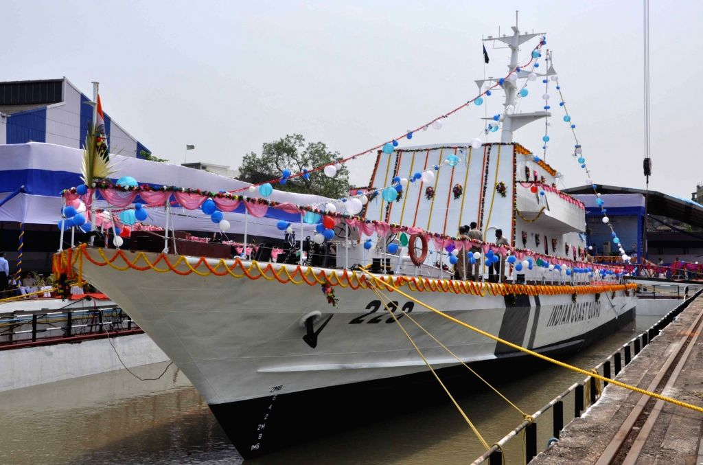 Kolkata: The Fast Patrol Vessel built by Garden Reach Shipbuilders and Engineers Limited, being launched at Rajabagan Dockyard in Kolkata, on March 31, 2018. (Photo: Kuntal Chakrabarty/IANS)