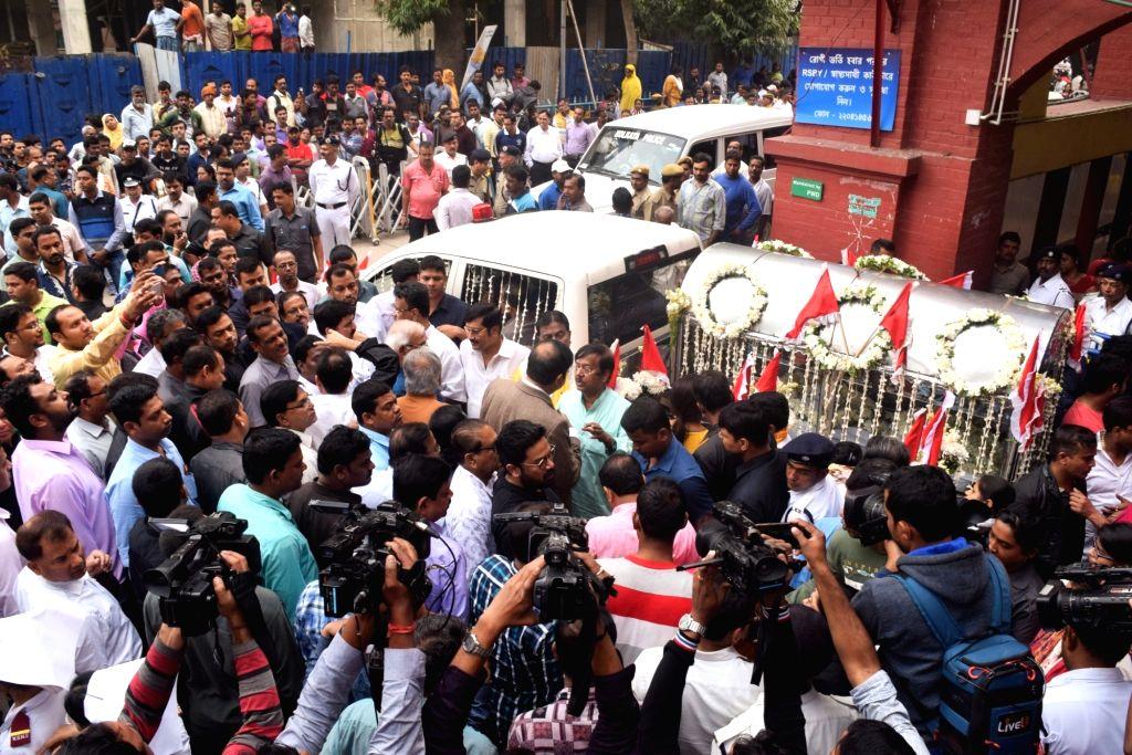 Kolkata: The hearse carrying mortal remains of Matua matriarch Binapani Devi, popular as 'Boroma', who passed away following multi-organ failure at the state-run SSKM Hospital, in Kolkata, departs for Thakurnagar, her hometown in North 24 Parganas di