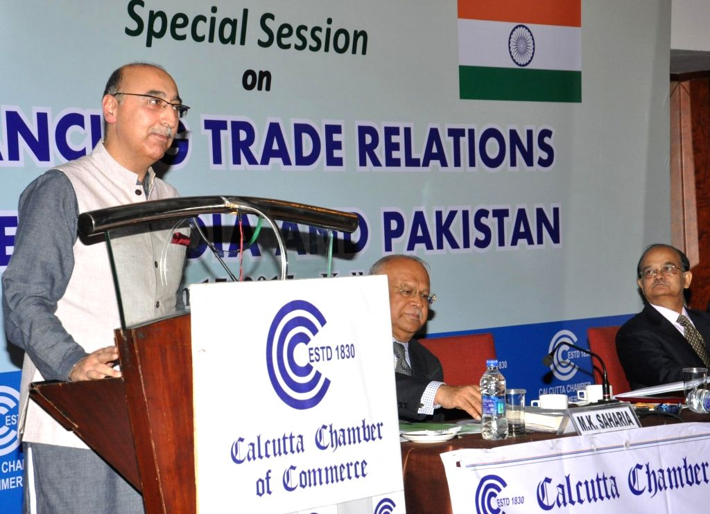 The High Commissioner of Pakistan in India, Abdul Basit addresses during a programme  organised by the Calcutta Chamber of Commerce in Kolkata, on March 17, 2015.
