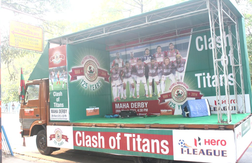 The  I-League campaign vehicle that was flagged-off during a programme in Kolkata on March 24, 2015.