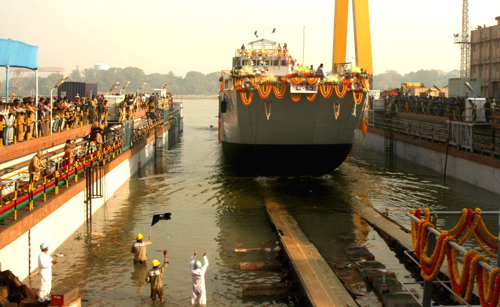 The third ship of the Landing Craft Utility(LCU) Mk IV project, Yard 2094, for the Indian Navy being launched at Garden Reach Shipbuilders and Engineers Ltd dock in Kolkata on Jan 16, 2015.
