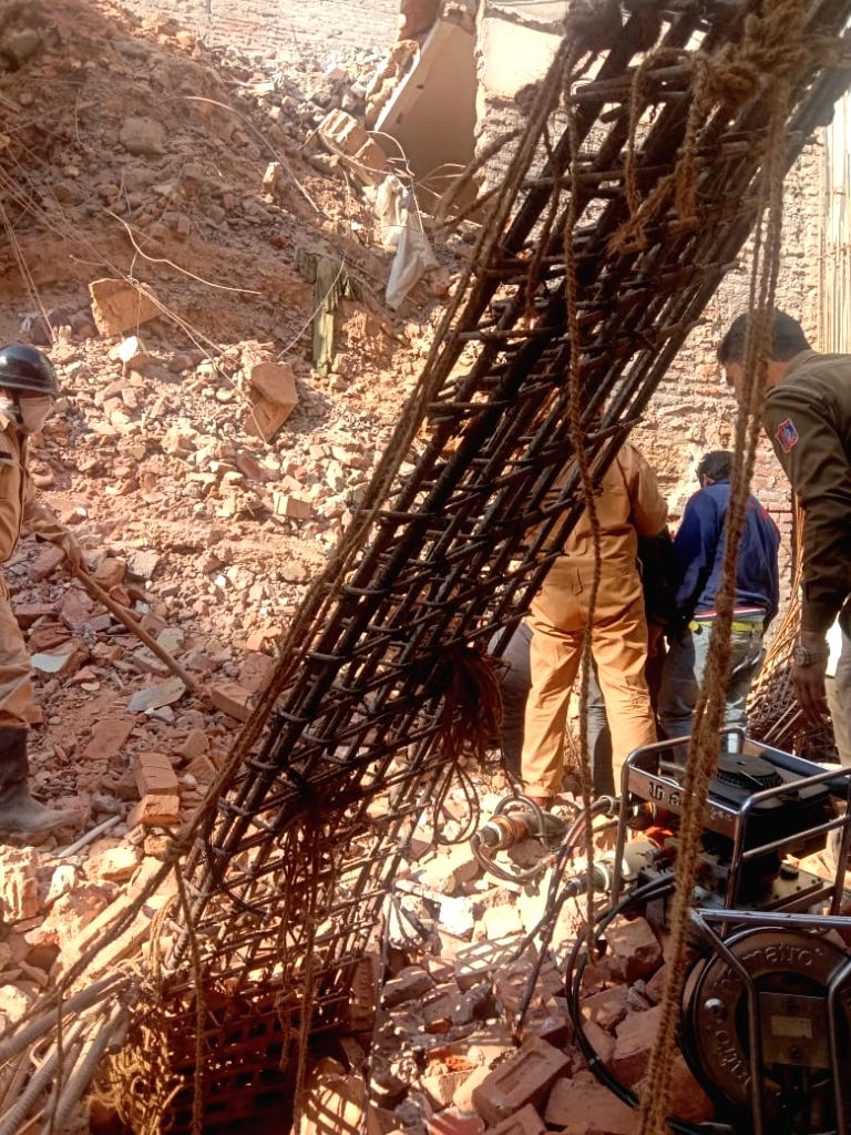Kolkata: The under-construction building that collapsed at South Delhi's C R Park area with two people feared trapped under the debris, on Feb 16, 2020. (Photo: IANS)