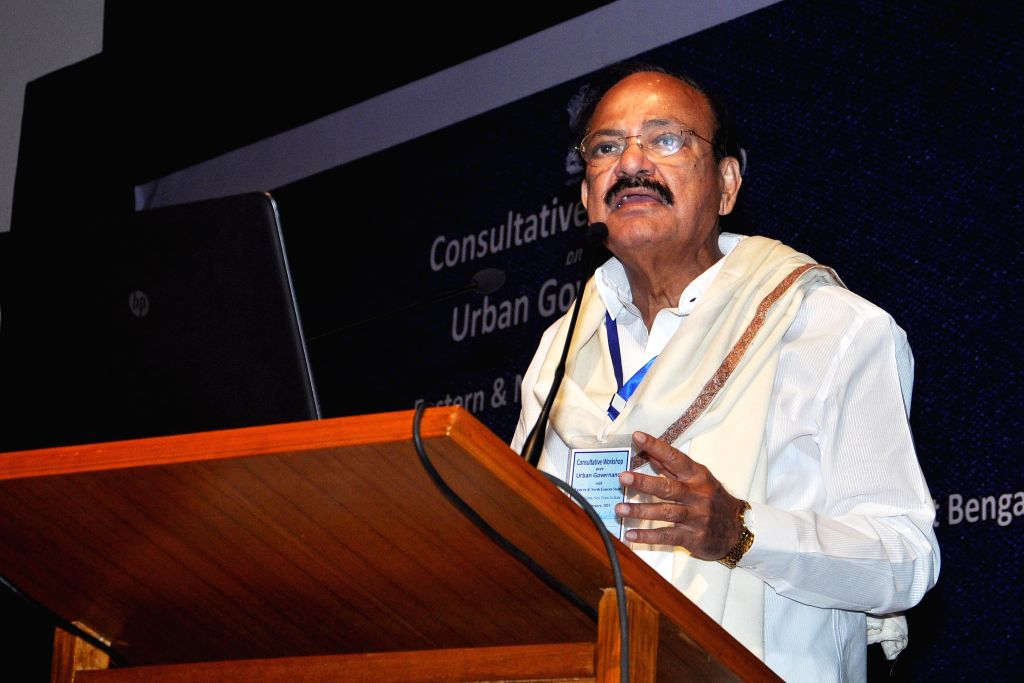 The Union Minister for Urban Development, Housing and Urban Poverty Alleviation and Parliamentary Affairs, M. Venkaiah Naidu addresses during a Consultative Workshop on Urban Governance in .. - M. Venkaiah Naidu
