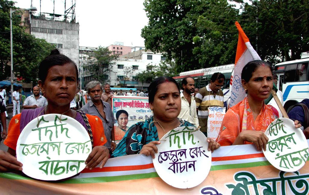 The workers of India's oldest engineering company Jessop & Co stage a demonstration to press for resumption of production in the factory  on June 17, 2015.