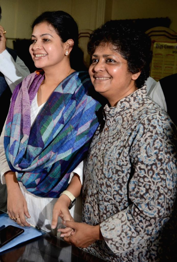 Kolkata: TMC leader Mausam Benazir Noor and theatre artist turned TMC leader Arpita Ghosh filing nomination for Rajya Sabha election at West Bengal Assembly in Kolkata on March 13, 2020. (Photo: IANS) - Arpita Ghosh