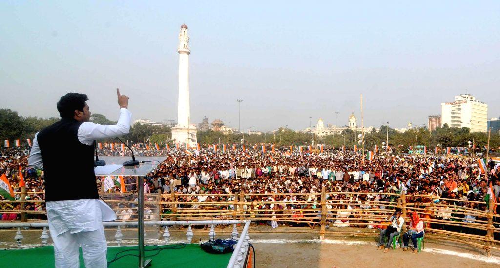 Trinamool Congress MP Abhishek Banerjee addresses during a rally organised by party's youth wing in Kolkata, on Dec 1, 2014. - Abhishek Banerjee