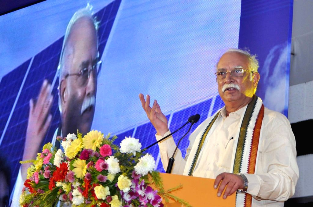 : Kolkata: Union Civil Aviation Minister P. Ashok Gajapathi Raju addresses during inauguration ceremony of 15 MW solar power plant at Netaji Subhas Chandra Bose International Airport in Kolkata, on ...