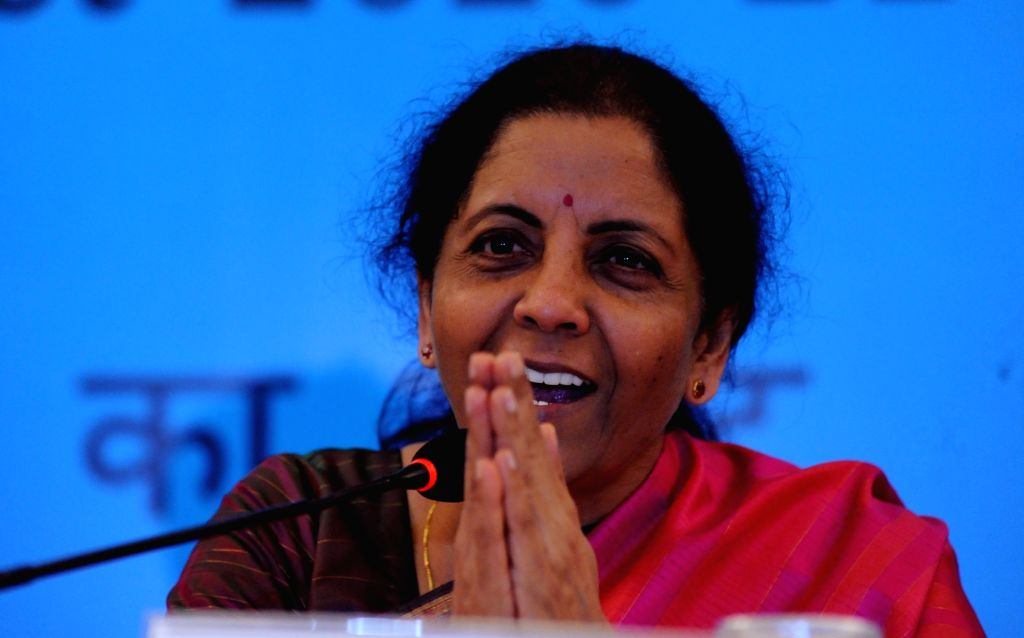 Kolkata: Union Finance and Corporate Affairs Minister Nirmala Sitharaman addresses a press conference during an interactive session with opinion makers organised to review their suggestions on the Union Budget 2020, in Kolkata on Feb 9, 2020. (Photo: - Nirmala Sitharaman