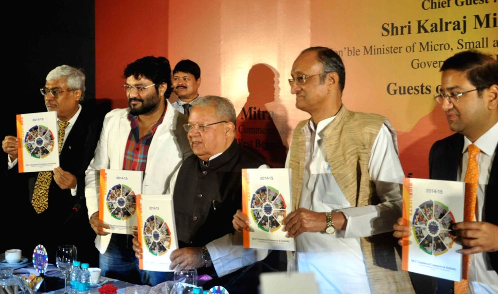 :Kolkata: Union Minister for Micro, Small and Medium Enterprises Kalraj Mishra release the Highlights of MCC Chamber of Commerce and Industry for the year 2014-15, in Kolkata on Nov. 7, 2015. Also ... - Kalraj Mishra