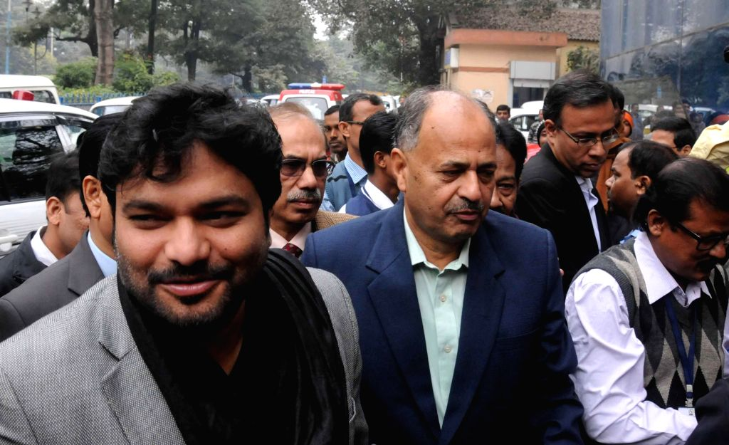 Union Minister of State for Urban Development Babul Supriyo arrives for a meeting regarding East-West Metro project in Kolkata, on Dec 30, 2014.