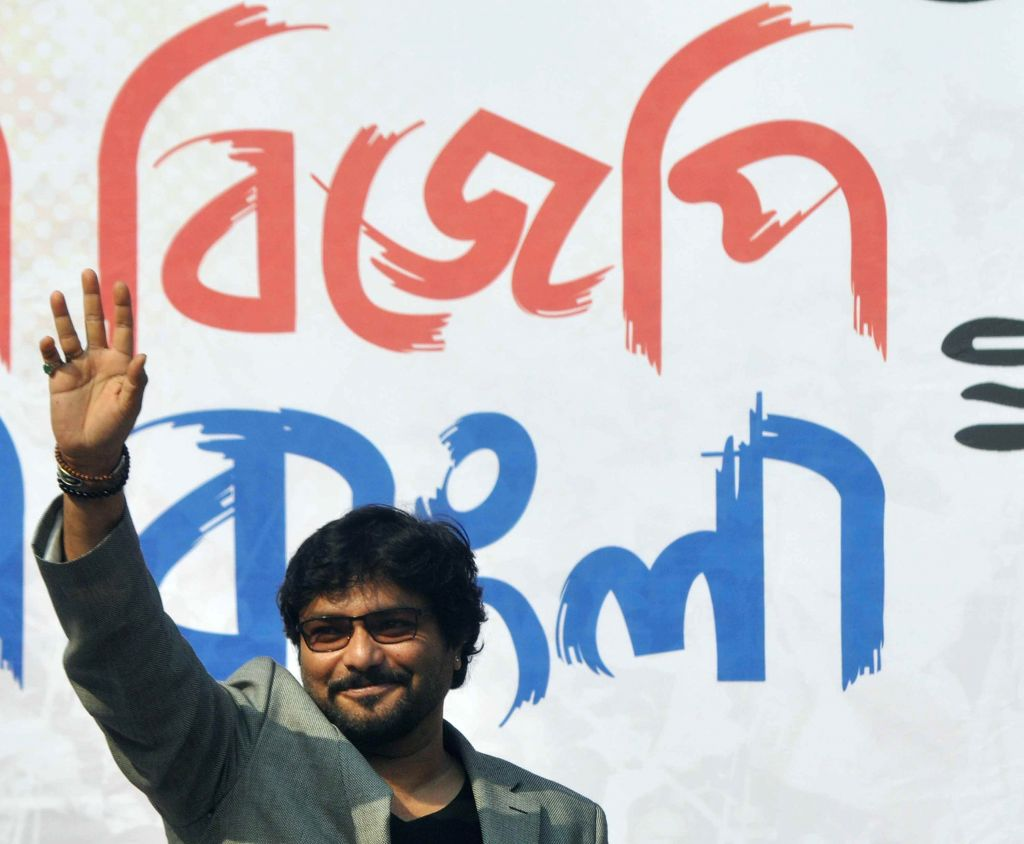 Union MoS for Urban Development, and Housing and Urban Poverty Alleviation Babul Supriyo during a BJP rally in Kolkata, on Nov 30, 2014.