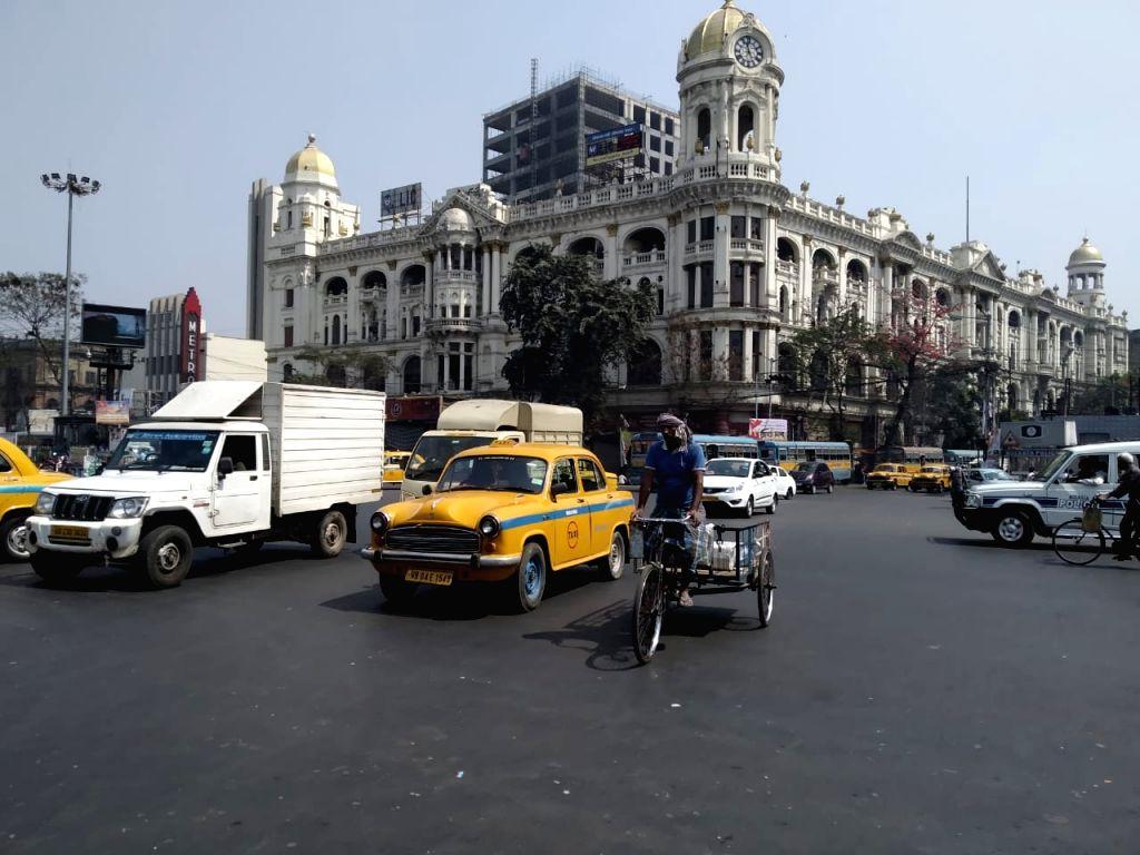 Kolkata : Vehicles are available at Esplanade during Bharat Bondh in Kolkata on Feb 26, 2021.