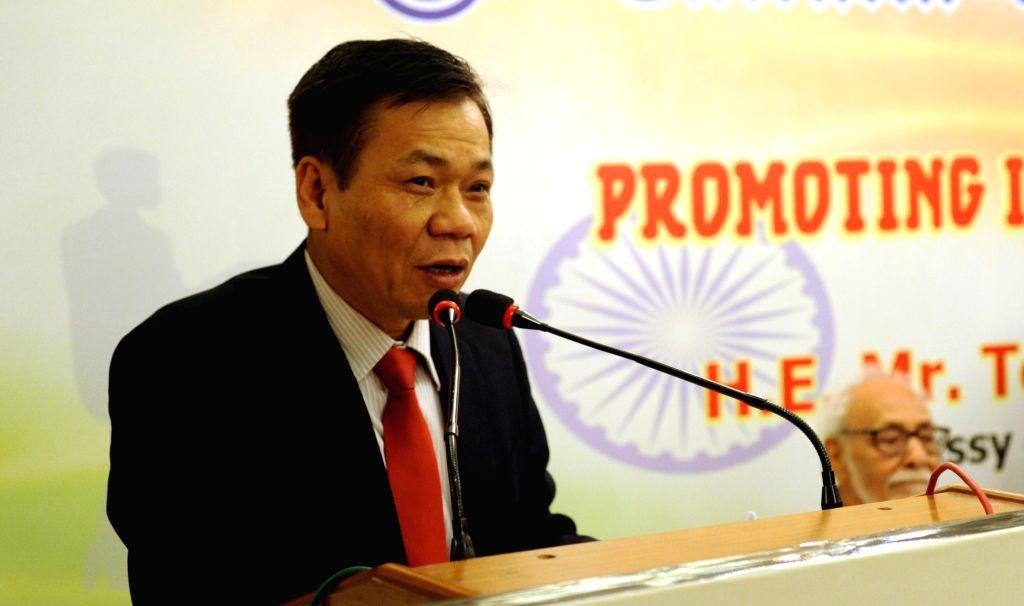:Kolkata: Vietnam's Ambassador to India Ton Sinh Thanh addresses during 187 years celebration Lecture Series on promoting India - Vietnam Partnership in Kolkata on April 4, 2018. (Photo: IANS).