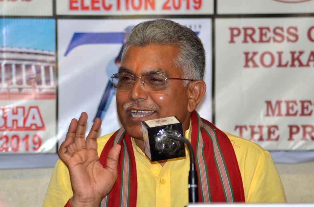 Kolkata: West Bengal BJP President Dilip Ghosh addresses a press conference in Kolkata, on April 25, 2019. (Photo: IANS) - Dilip Ghosh