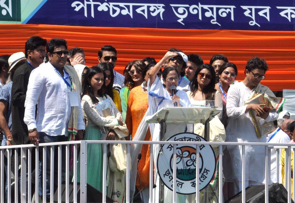Kolkata: West Bengal Chief Minister and TMC Supremo Mamata Banerjee along with Bengali celebrities observe Martyrs' Day in Kolkata on July 21, 2019. (Photo: Kuntal Chakrabarty/IANS) - Mamata Banerjee
